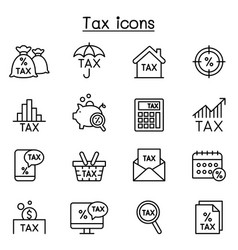 Tax icon set in thin lines style vector