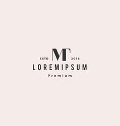 tm mt logo retro vintage hipster initial monogram vector image