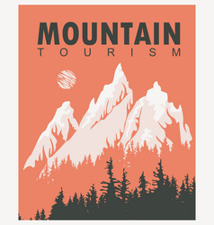 Travel banner with mountains and pine trees vector