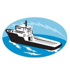 Tugboat ship at sea retro woodcut vector