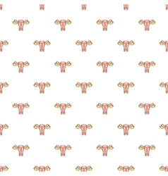 Uterus and ovaries pattern cartoon style vector