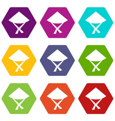 vietnamese hat icon set color hexahedron vector image