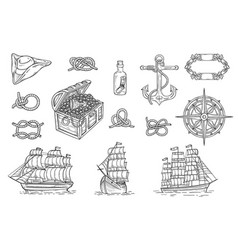 vintage pirate ship and treasure hunt drawing set vector image