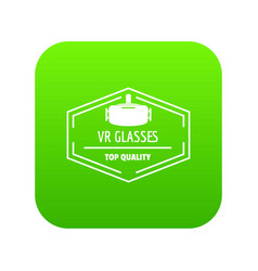 vr glasses icon green vector image
