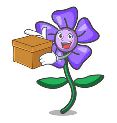 With box periwinkle flower character cartoon vector