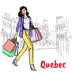 woman in quebec vector image