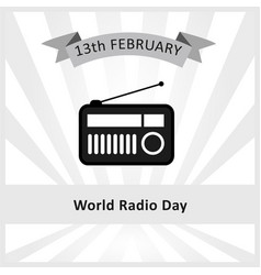 World radio day february 13th vector