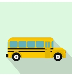 Yellow school bus icon flat style vector image