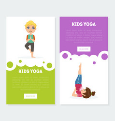 Yoga for kids banners landing pages templates set vector
