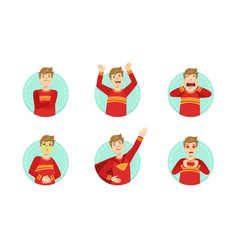 young man showing various emotions set male emoji vector image