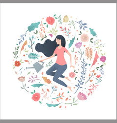 young woman in a circle of flowers with a garden vector image