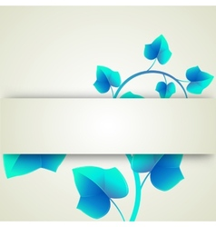 Banner blue leaves curls vector image