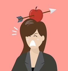 Business woman with apple and arrow on her head vector image