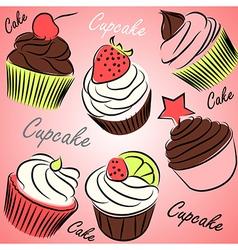cupcake set vector image