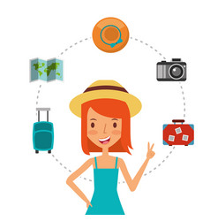 happy girl tourist waving hand and suitcases vector image