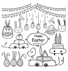 Line hand drawn doodle happy easter day set vector