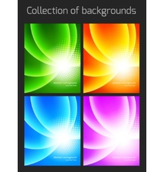 Set of colorful backgrounds with light effect vector image vector image