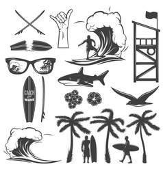 surfing black icon set vector image