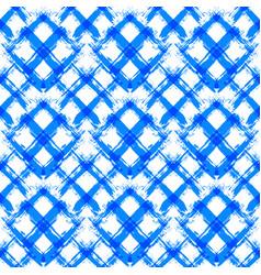 white blue gingham pattern unusual brush strokes vector image vector image