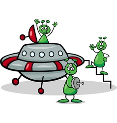 aliens with ufo cartoon vector image vector image