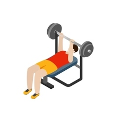 Man exercising on bench press icon isometric 3d vector image
