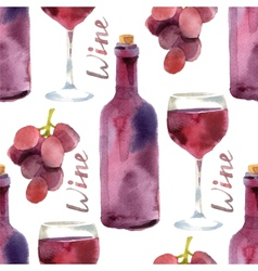 watercolor wine seamless vector image vector image