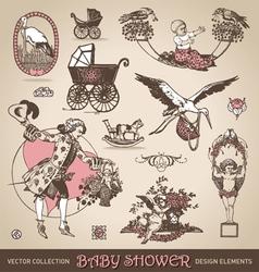 baby shower antique design elements set vector image vector image