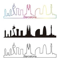 Barcelona skyline linear style with rainbow vector image