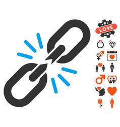 break chain link icon with valentine bonus vector image vector image