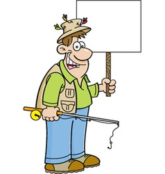 Cartoon fisherman holding a sign vector image vector image