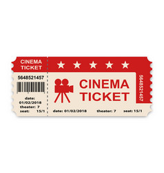 cinema ticket isolated on white background vector image vector image