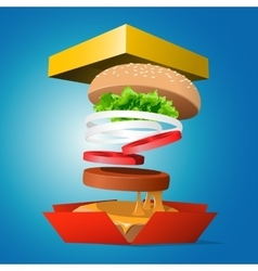 Ingredients hamburger ejected from the packaging vector image