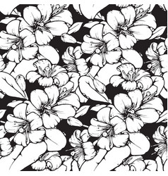 lemon blossom drawing seamless pattern vector image