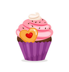 muffin with pink cream and cookie vector image vector image