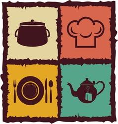 Set of Vintage kitchen elements Labels vector image vector image