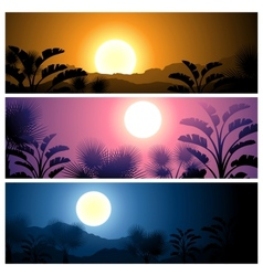 Tropical banners set landscape sun moon and palm vector image