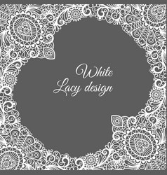 white lacy ornamental card design vector image