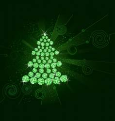 Christmas tree of green diamonds vector image vector image