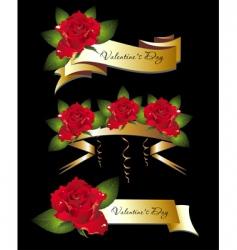 valentine ribbon vector image vector image
