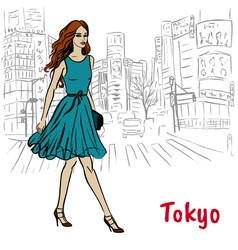 woman in tokyo vector image vector image