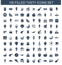 100 tasty icons vector