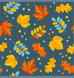 Autumn floral seamless pattern with oak and maple vector