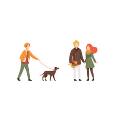 autumn time activities set people in outwear vector image