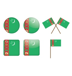badges with flag of Turkmenistan vector image