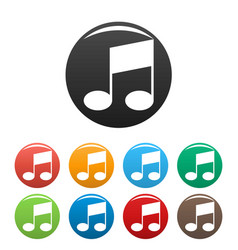 Bar musical note icons set color vector