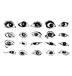 beautiful woman eyes ink drawing vector image