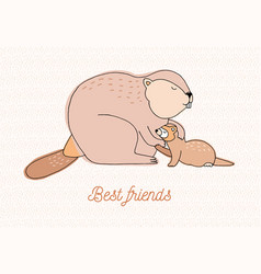 Best friends card colorful hand drawn vector