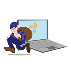 bitcoin cyber thief vector image