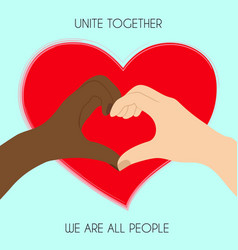 black and white hands in heart shape interracial vector image