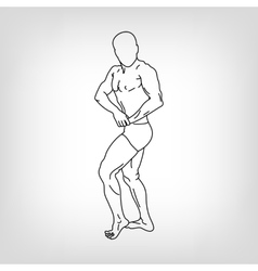 Bodybuilder silhouette against white vector image